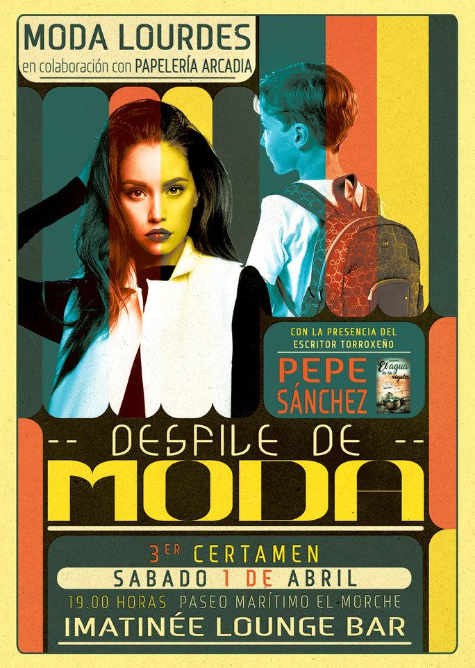 Flyer desfile de Moda y Mochilas